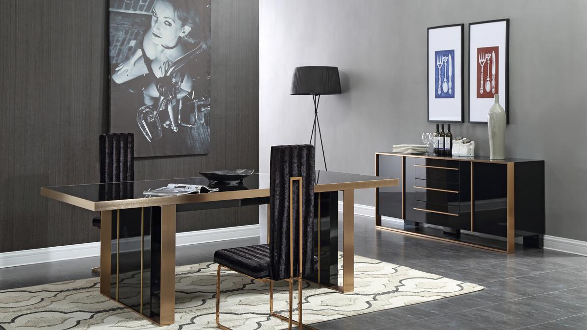 VIG Furniture Nova Domus Cartier Modern Black and Brushed Bronze Dining Set