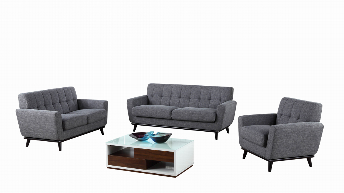 VIG Furniture Divani Casa Corsair Modern Grey Fabric Sofa Set