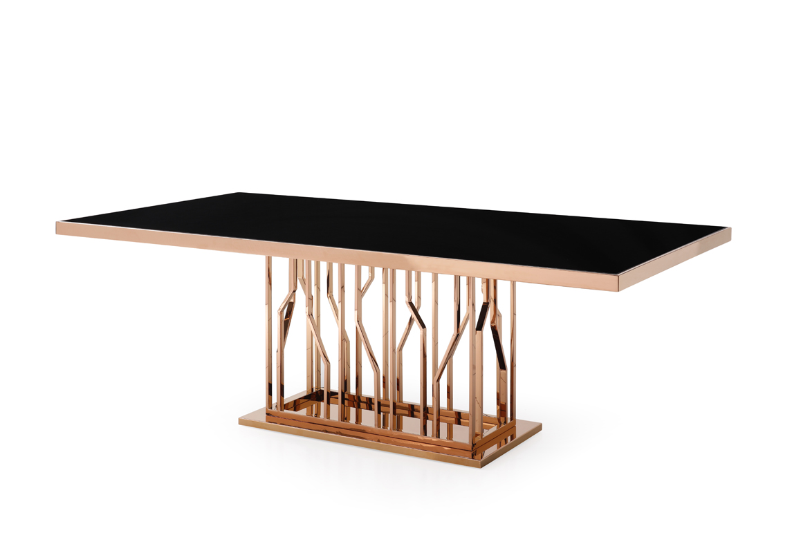 VIG Furniture Modrest Marston Modern Black Glass and Rosegold Dining Table