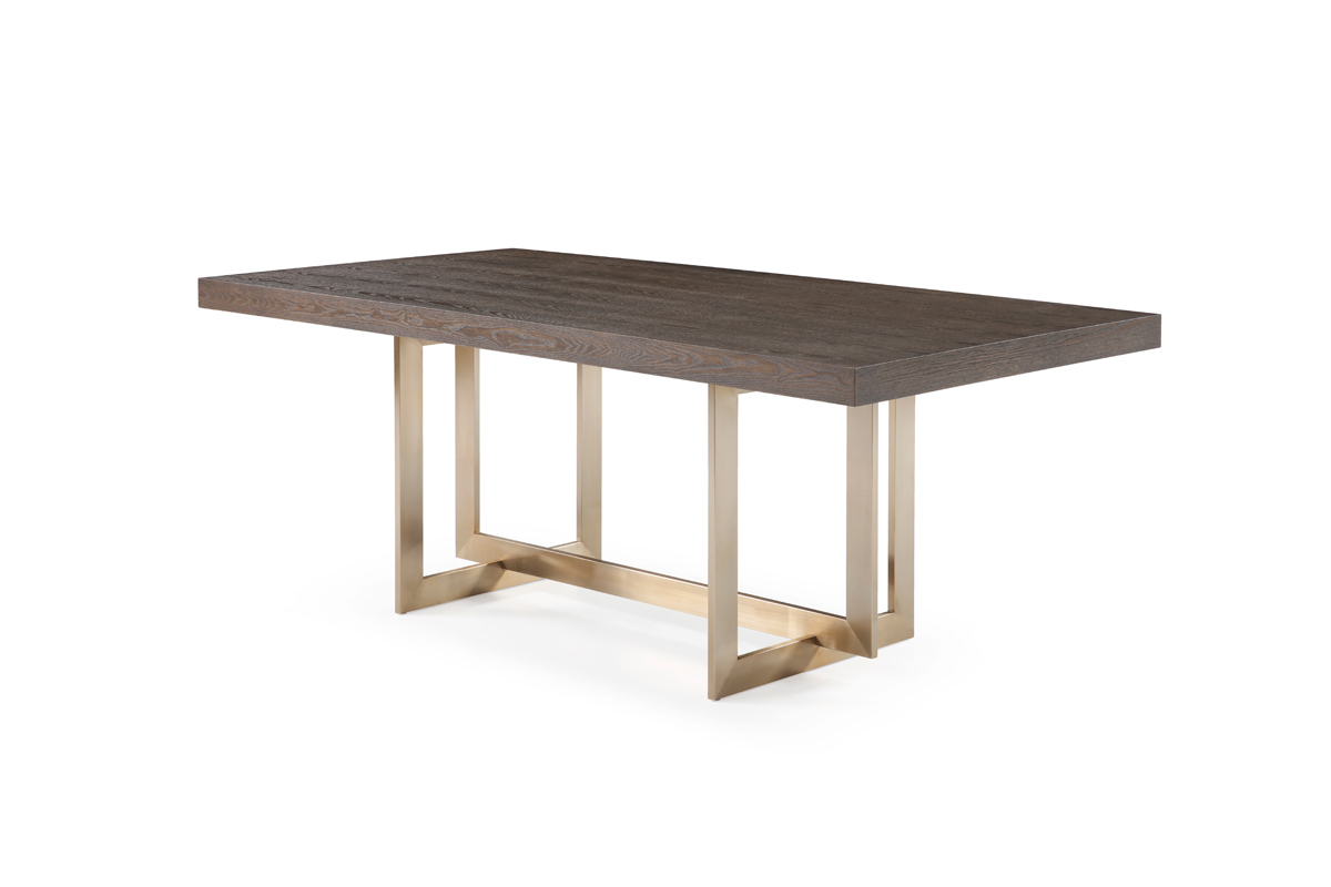VIG Furniture Modrest Pike Modern Brown Ash and Brass Dining Table
