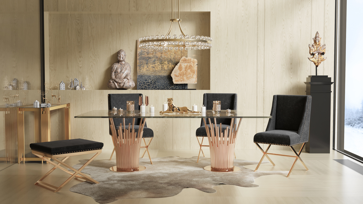 VIG Furniture Modrest Paxton Modern Glass and Rosegold Dining Table