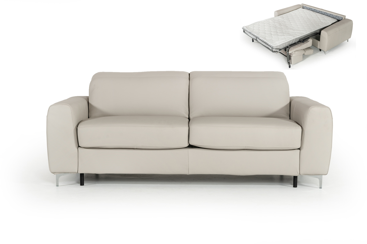 VIG Furniture Estro Salotti Tourquois Italian Modern Light Grey Leather Sofa Bed