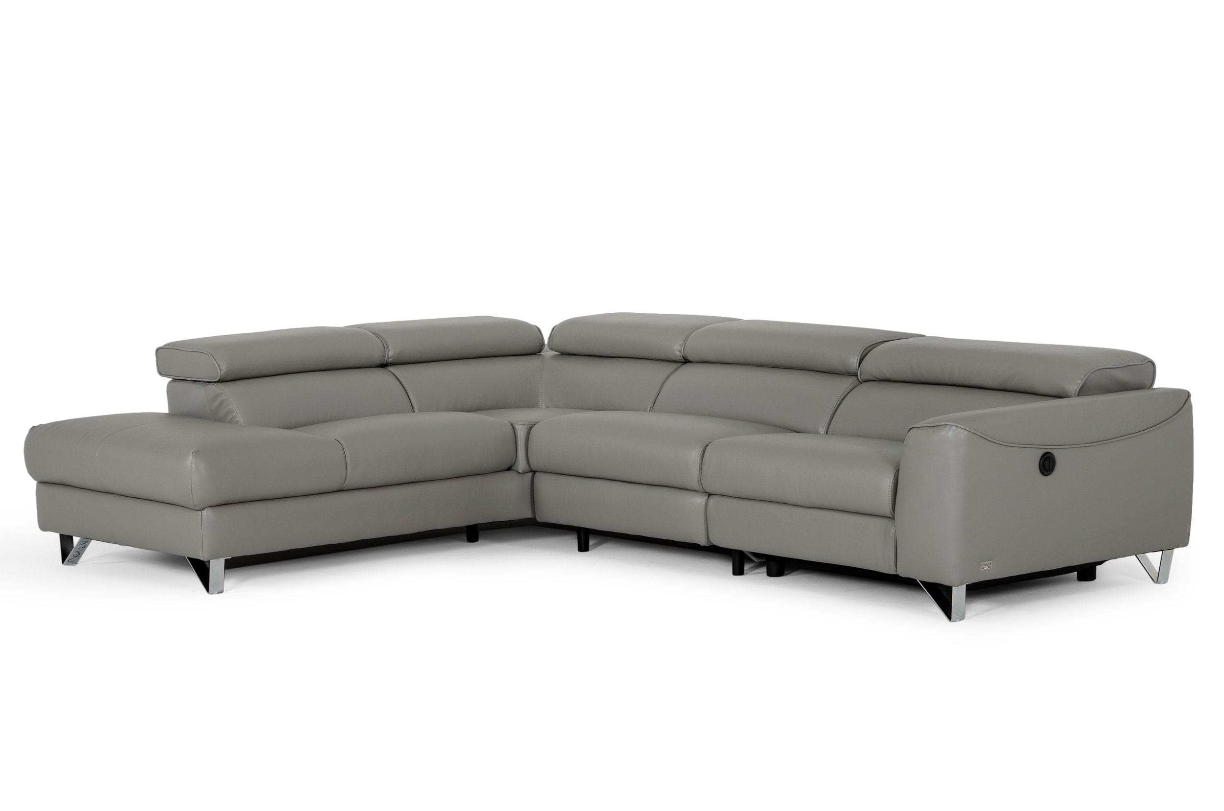 VIG Furniture Divani Casa Versa Modern Grey Teco Leather LAF Chaise Sectional with Recliner
