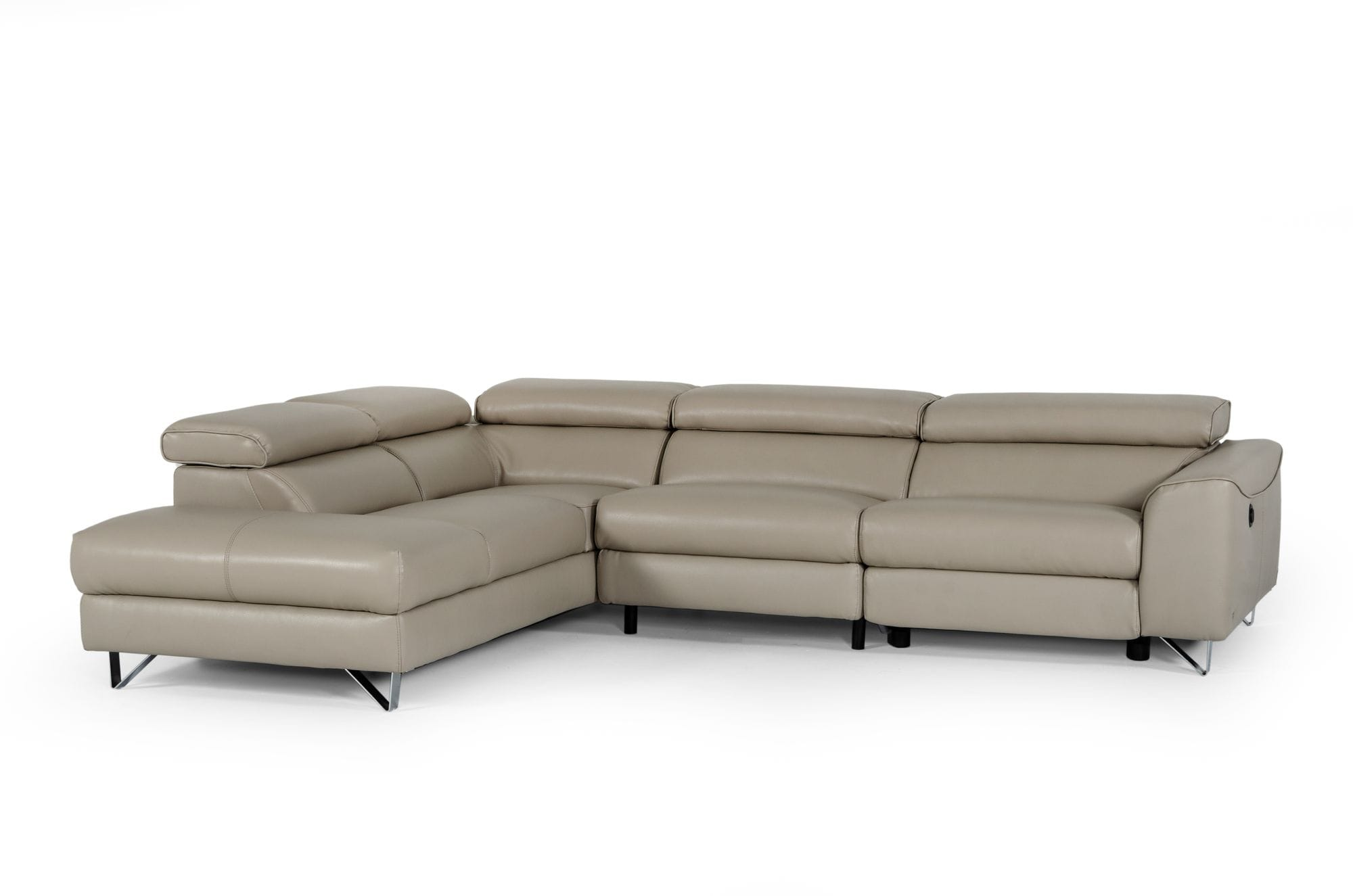VIG Furniture Divani Casa Versa Modern Light Taupe Teco-Leather LAF Chaise Sectional with Recliner