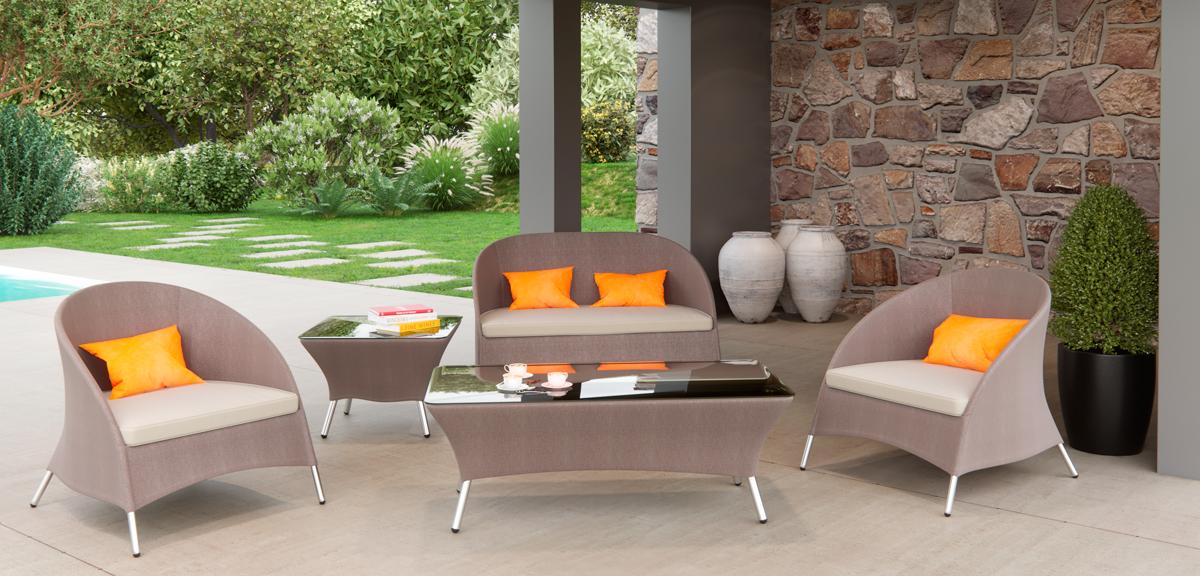 VIG Furniture Renava Zamora Outdoor Brown Sofa Set